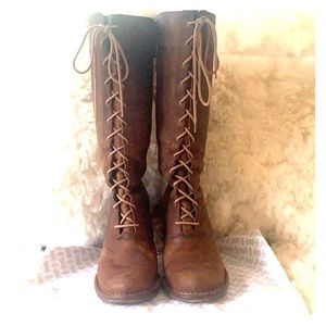 Frye Villager Leather Lace Up Boots Heel 8.5